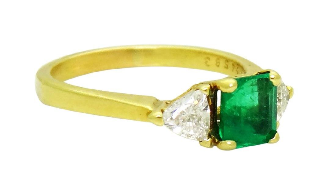 18K Yellow Gold Emerald and Diamonds Ring Size 8.25 - 2