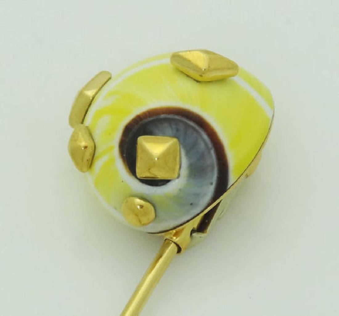 TRIANON 18K YELLOW GOLD PIN BROOCH - 5