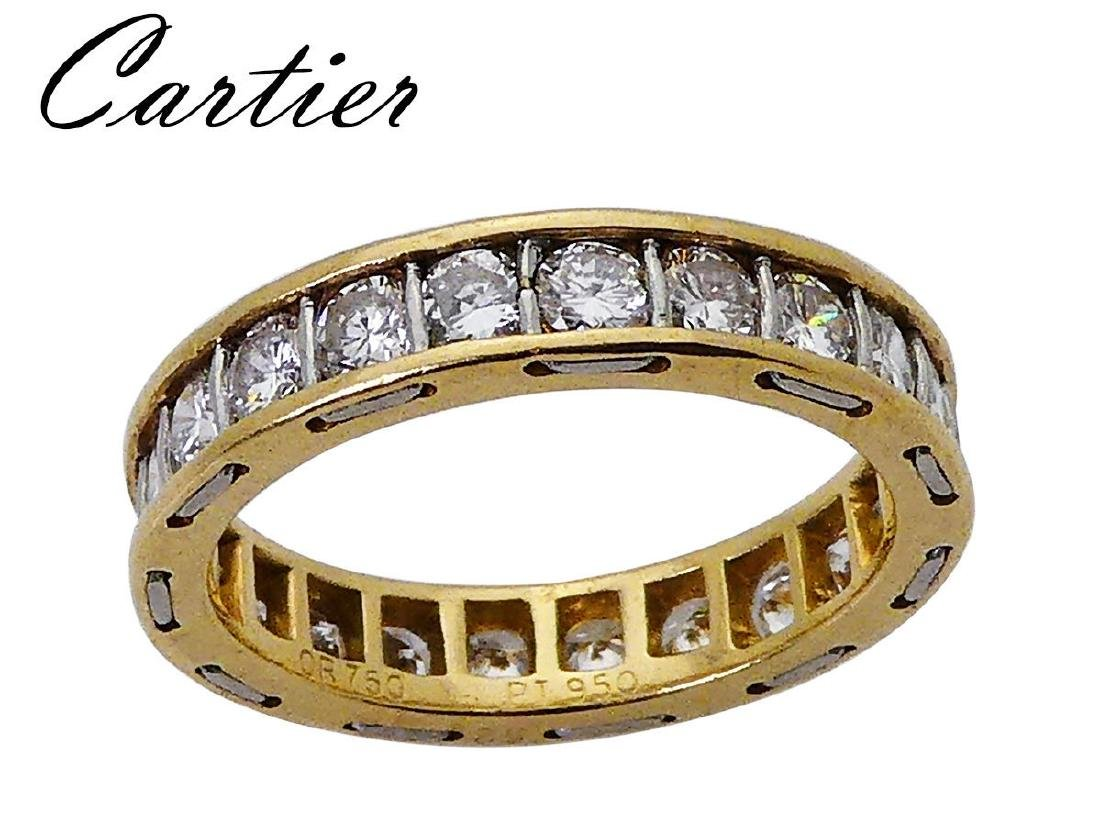 Estate Cartier PT 950 & 18k 3.30 TCW Diamond Eternity