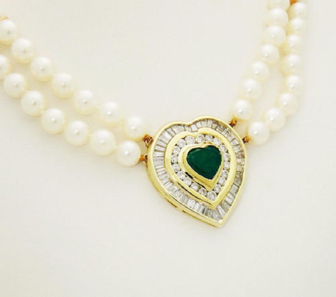 18k 5.00 ct TCW Diamond Emerald Heart Pendant Cultured - 2