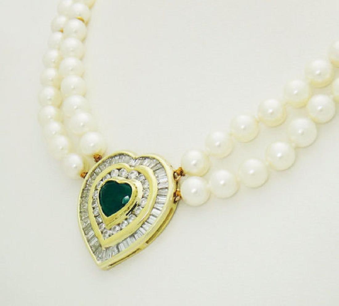 18k 5.00 ct TCW Diamond Emerald Heart Pendant Cultured - 3