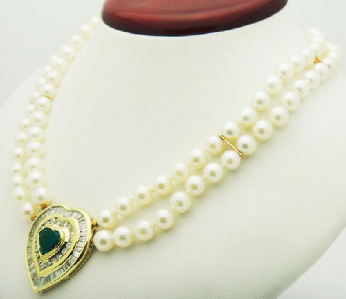 18k 5.00 ct TCW Diamond Emerald Heart Pendant Cultured - 4