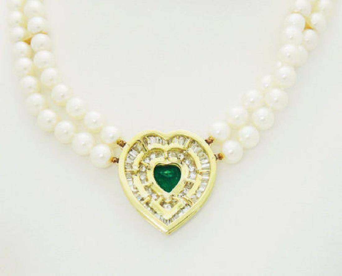 18k 5.00 ct TCW Diamond Emerald Heart Pendant Cultured - 5