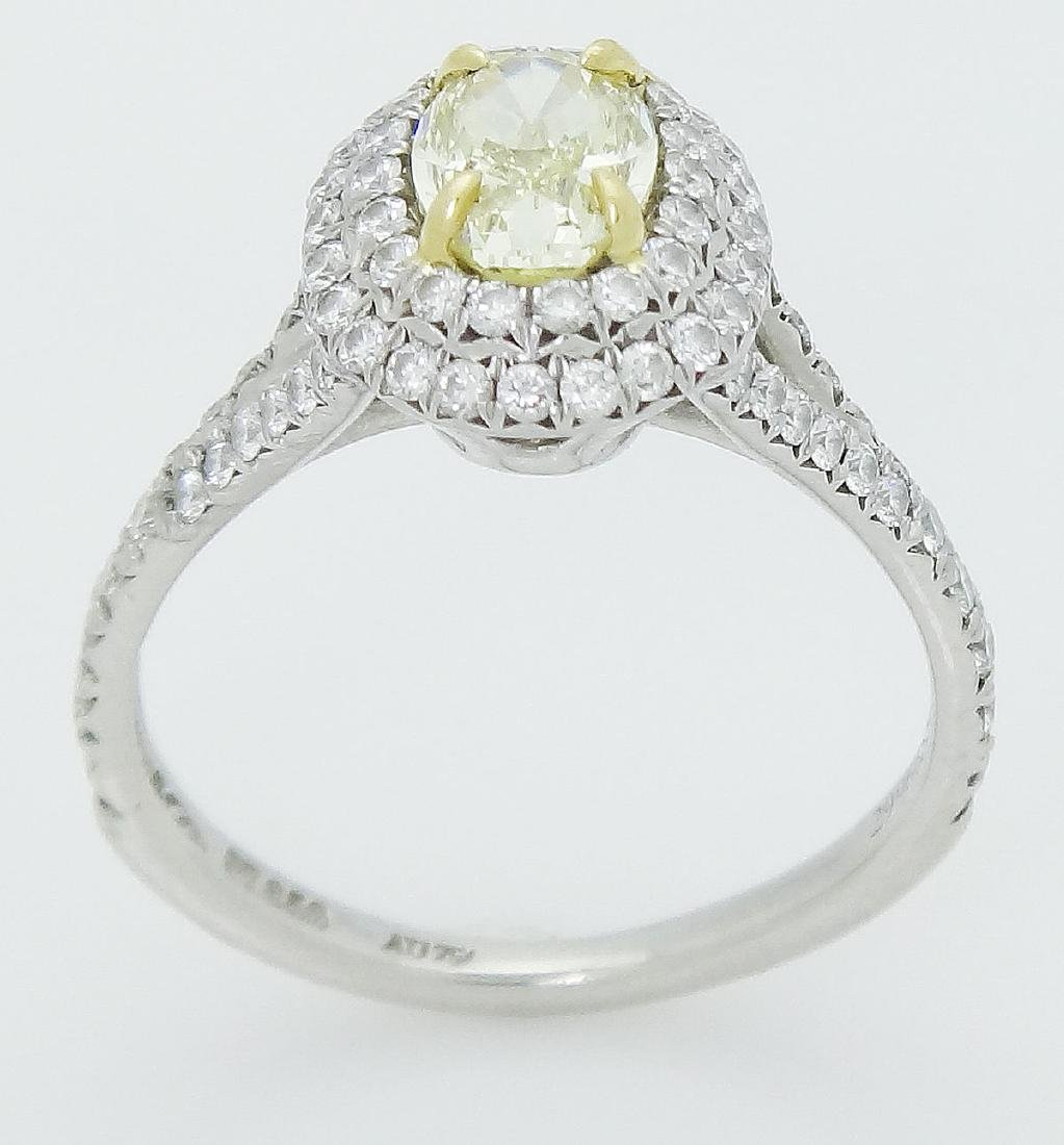 Tiffany & Co Soleste Plat 950 & 18k Yellow Diamond Ring - 3