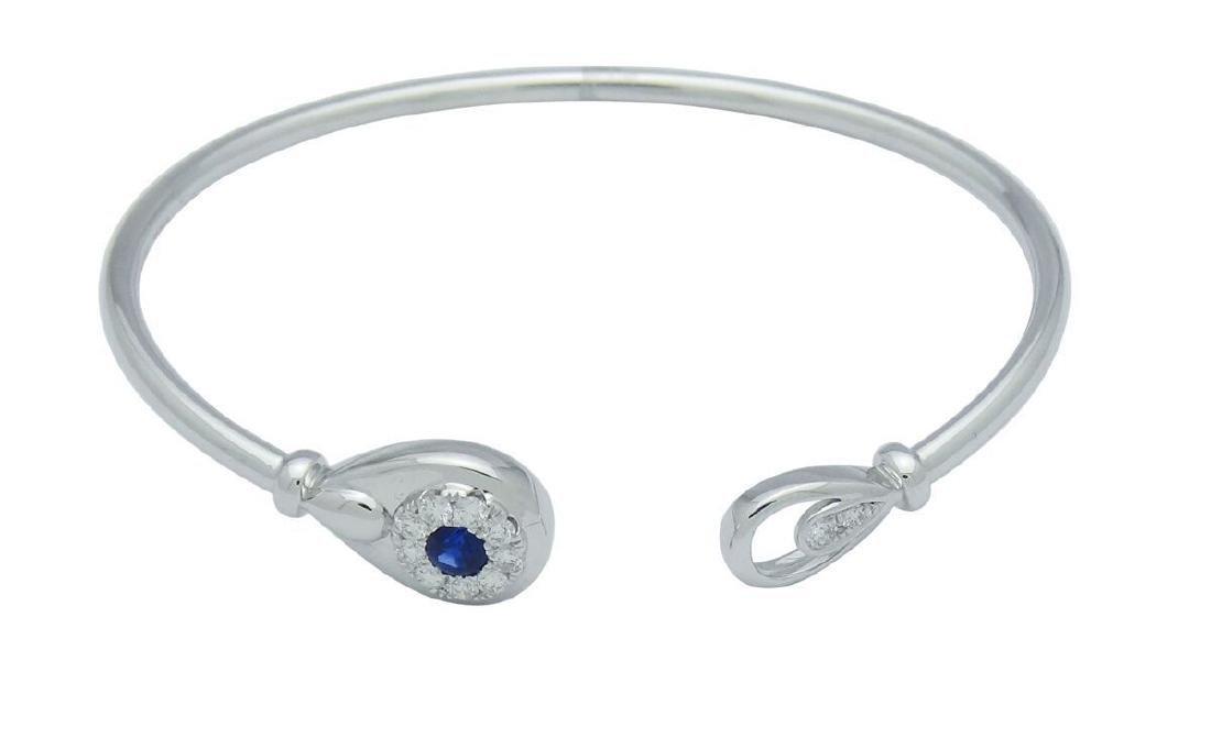 18K White Gold 0.25 Sapphire 0.30 tcw Diamond Cuff - 2
