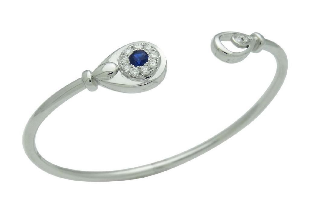 18K White Gold 0.25 Sapphire 0.30 tcw Diamond Cuff - 4