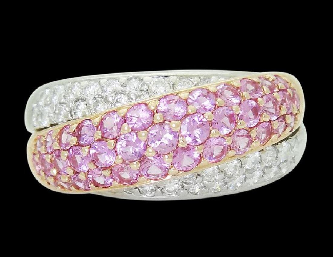 18k Multi Tone Gold & Apx 2.60 VS G Diamond & Pink Ring