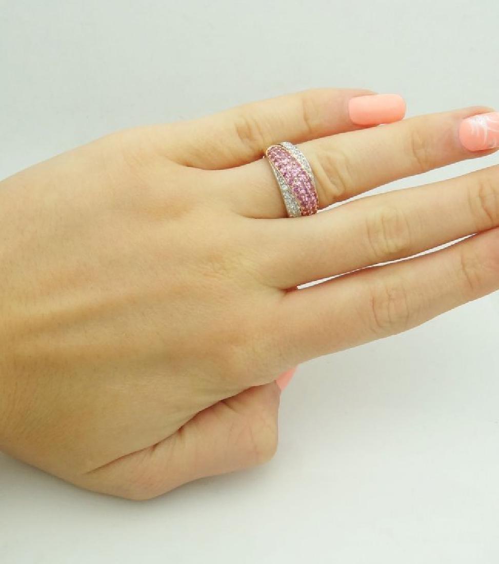 18k Multi Tone Gold & Apx 2.60 VS G Diamond & Pink Ring - 3
