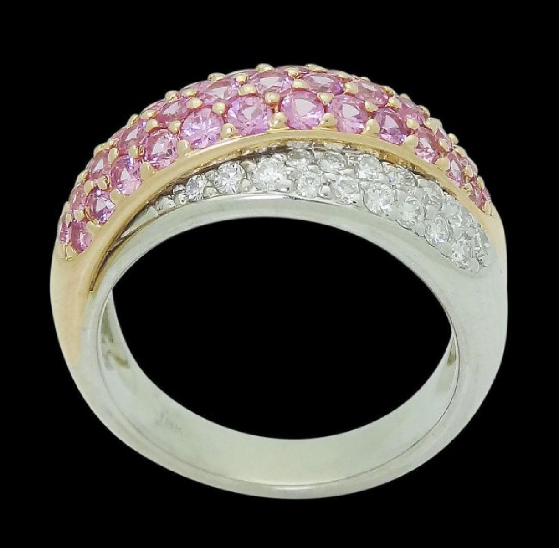 18k Multi Tone Gold & Apx 2.60 VS G Diamond & Pink Ring - 5