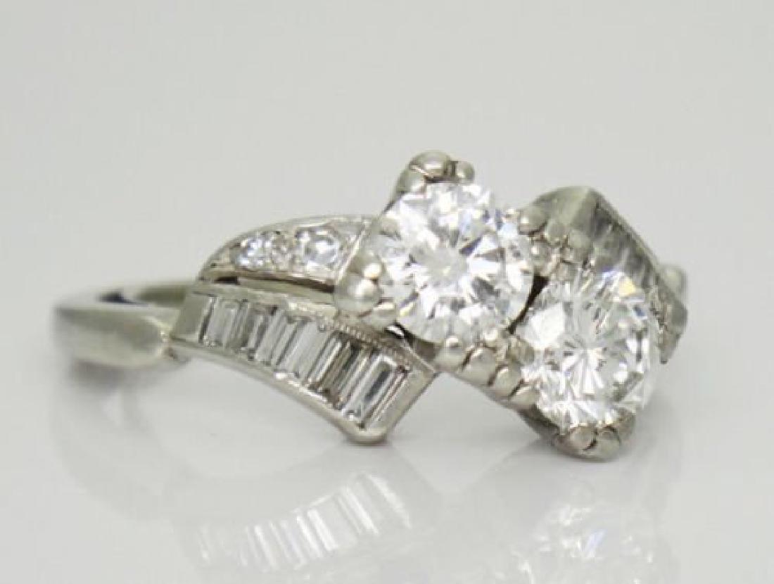 Antique 1TCW VS F Diamond & Platinum Twin Souls Ring