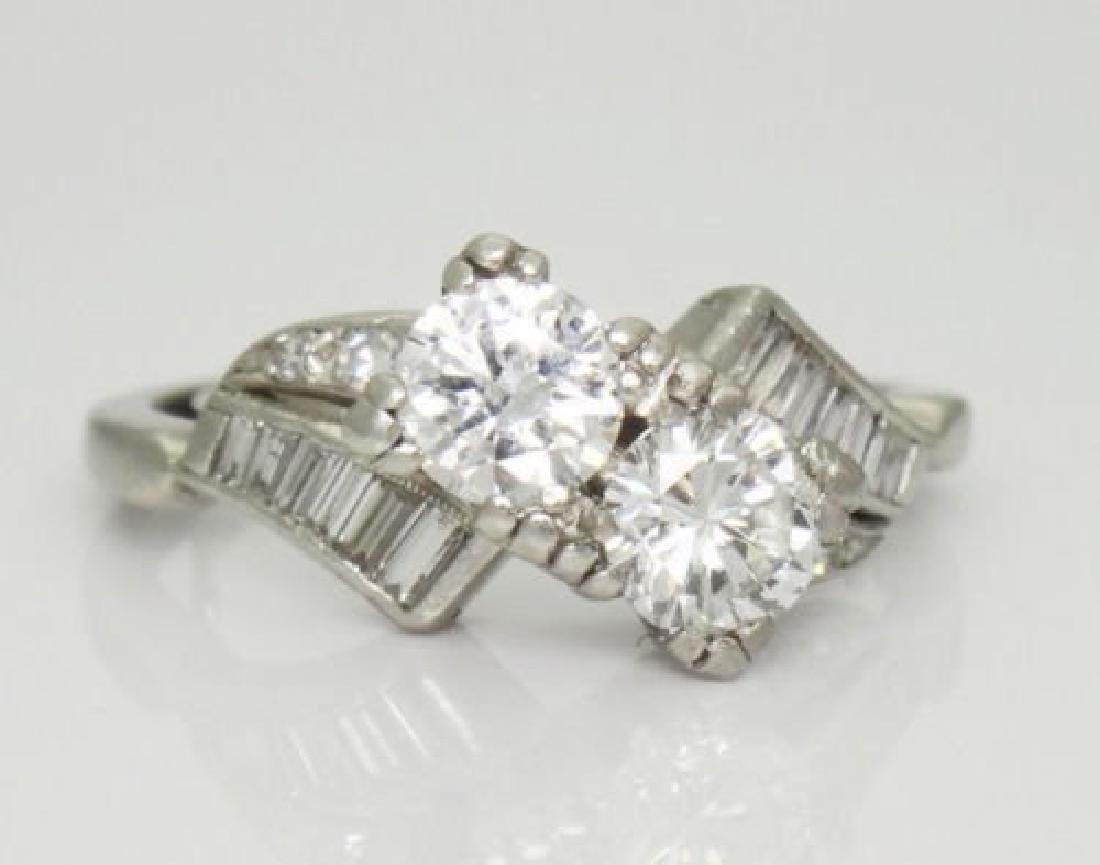 Antique 1TCW VS F Diamond & Platinum Twin Souls Ring - 2