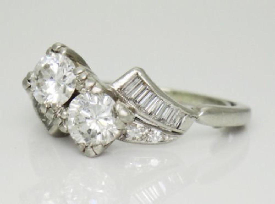 Antique 1TCW VS F Diamond & Platinum Twin Souls Ring - 3