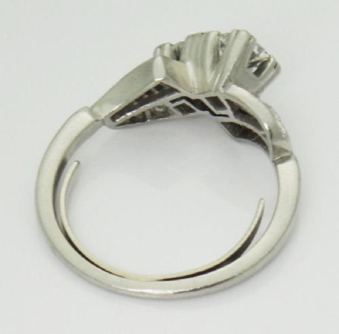 Antique 1TCW VS F Diamond & Platinum Twin Souls Ring - 4