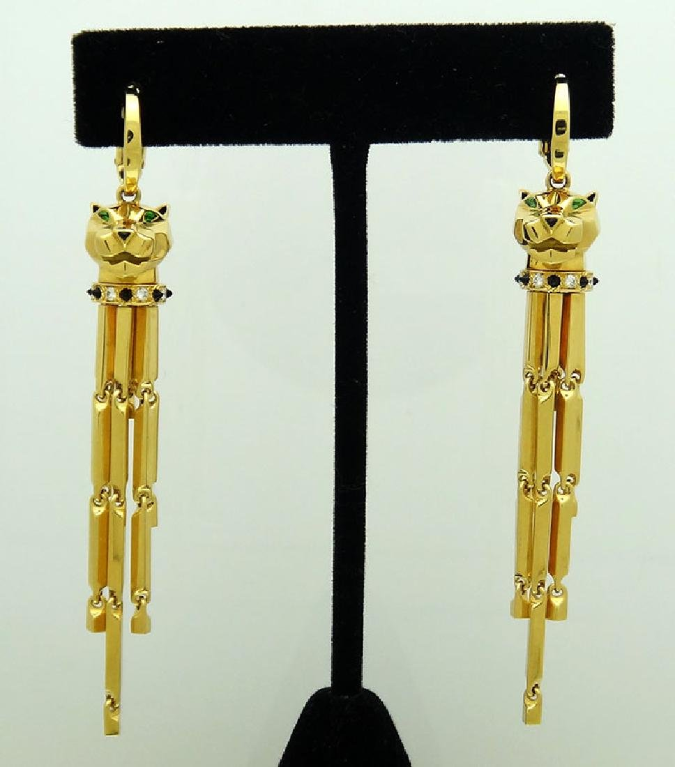 Cartier 18K Diamond, Tsavorite, Onyx Panthere Earrings