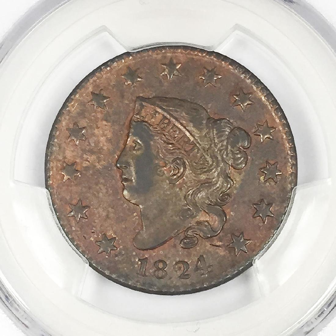 1824 Coronet Head Large Cent 1C Coin PCGS Genuine - 2
