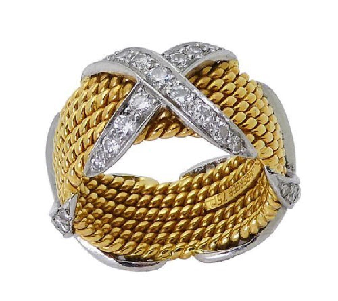 Tiffany & Co Schlumberger X Diamond 6 Row Rope 18k Ring