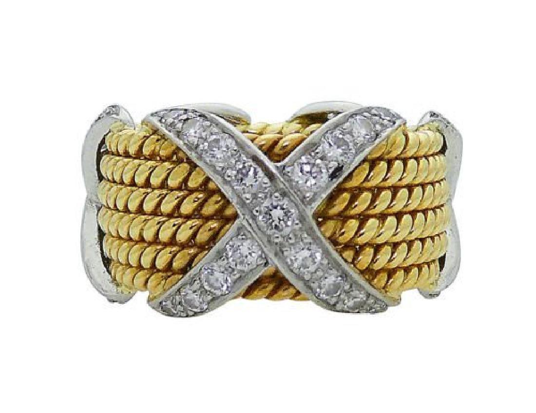 Tiffany & Co Schlumberger X Diamond 6 Row Rope 18k Ring - 2