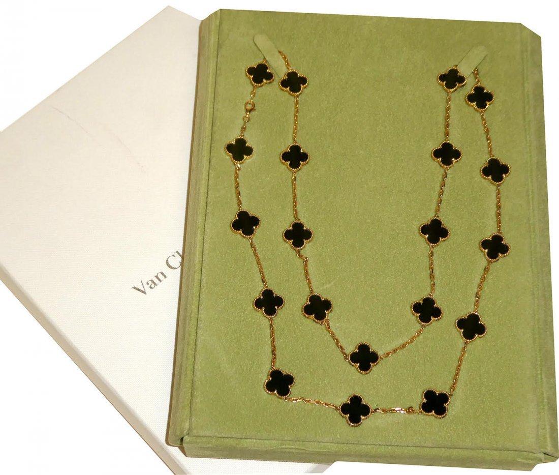 Vintage Van Cleef & Arpels Alhambra 18K Onyx 20 Motif - 3