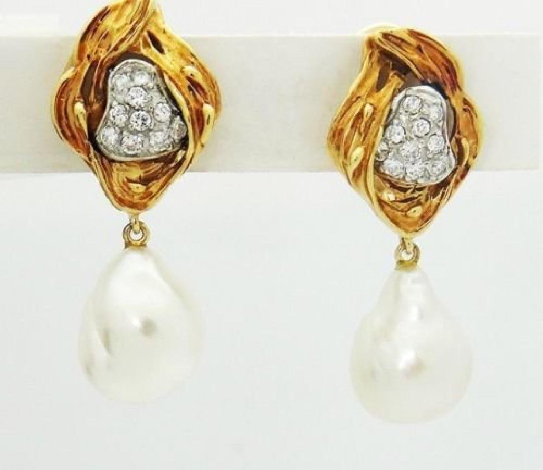 18k Yellow Gold & 1.00 Carat Diamond & Pearl Dangle - 2