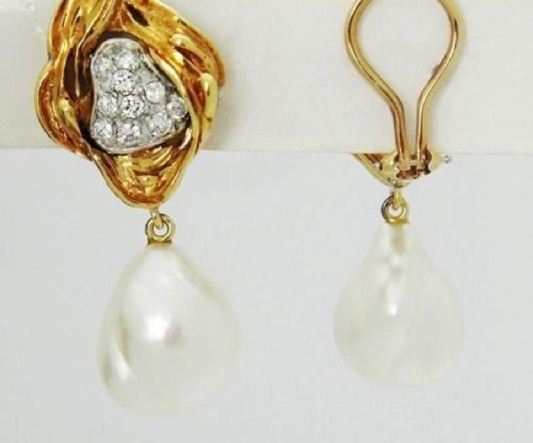 18k Yellow Gold & 1.00 Carat Diamond & Pearl Dangle - 3