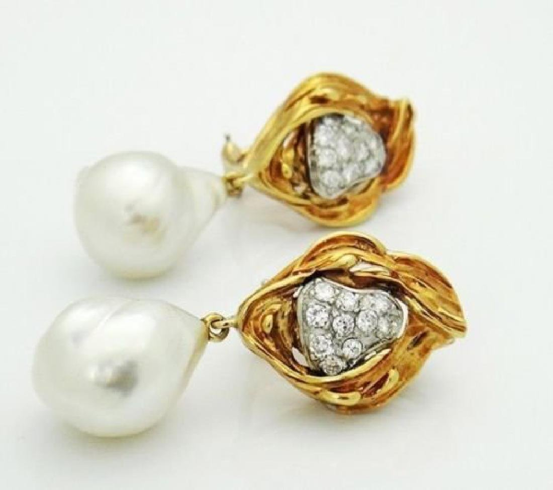 18k Yellow Gold & 1.00 Carat Diamond & Pearl Dangle - 4