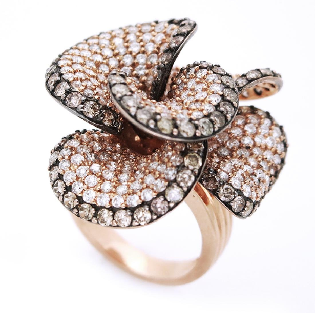 14K White & Champagne  Diamonds Flower Cocktail Ring