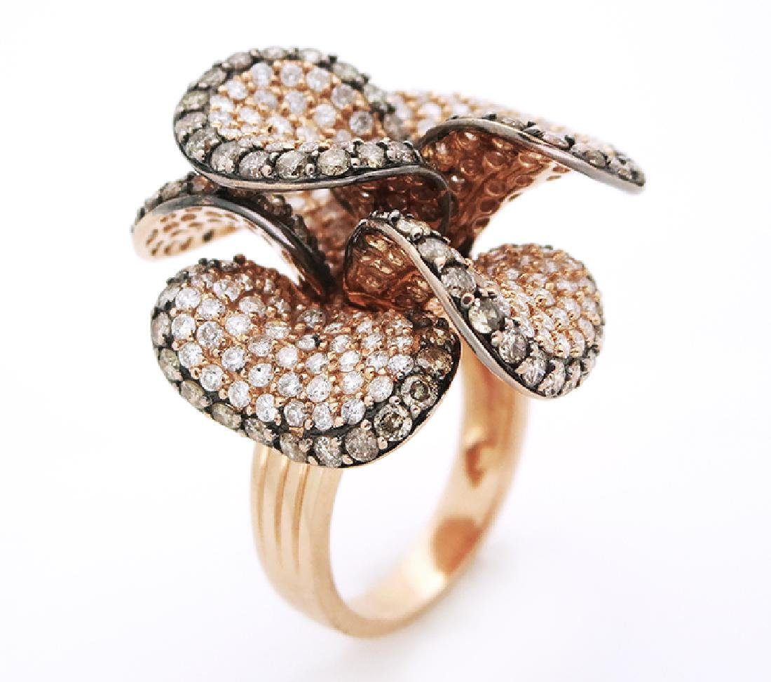 14K White & Champagne  Diamonds Flower Cocktail Ring - 7