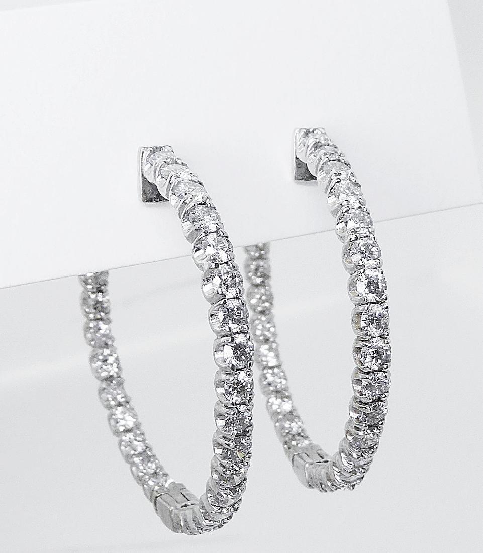 14k  5.50 TCW Inside Out Diamond Round Hoop Earrings