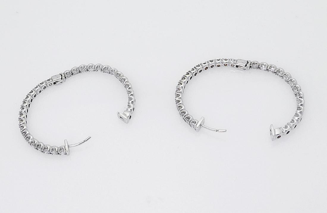 14k  5.50 TCW Inside Out Diamond Round Hoop Earrings - 3