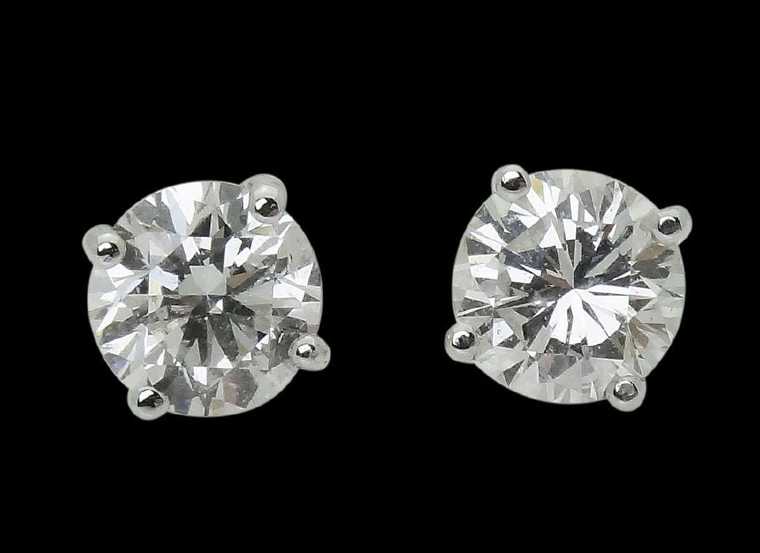 14k White Gold & 1.41 TCW SI F-G Round Cut Diamond Stud