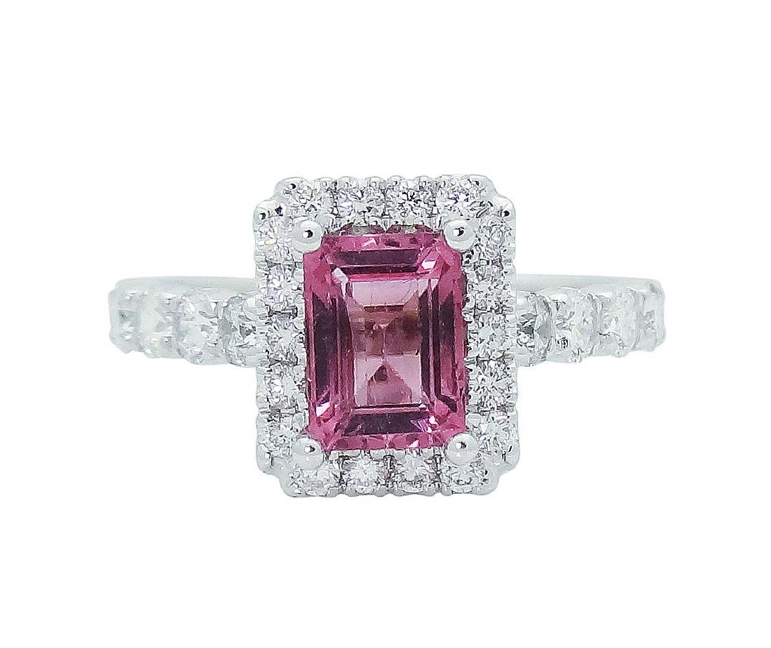 18K Gold Emerald Cut Pink Tourmaline & Diamond