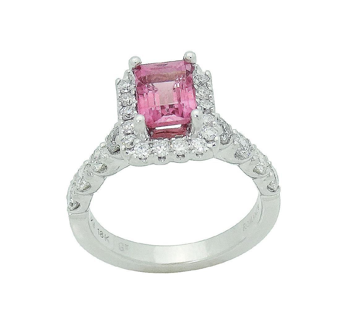 18K Gold Emerald Cut Pink Tourmaline & Diamond - 2