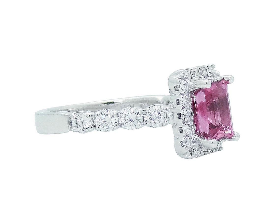 18K Gold Emerald Cut Pink Tourmaline & Diamond - 3