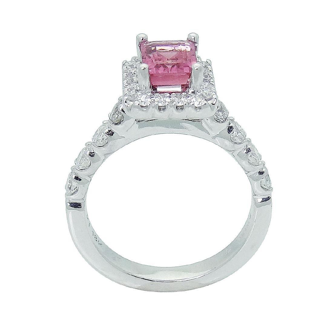 18K Gold Emerald Cut Pink Tourmaline & Diamond - 5