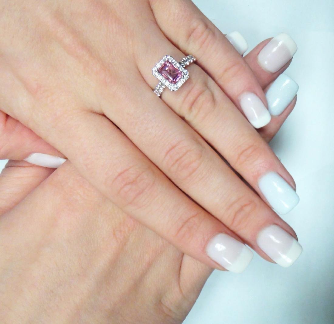 18K Gold Emerald Cut Pink Tourmaline & Diamond - 7