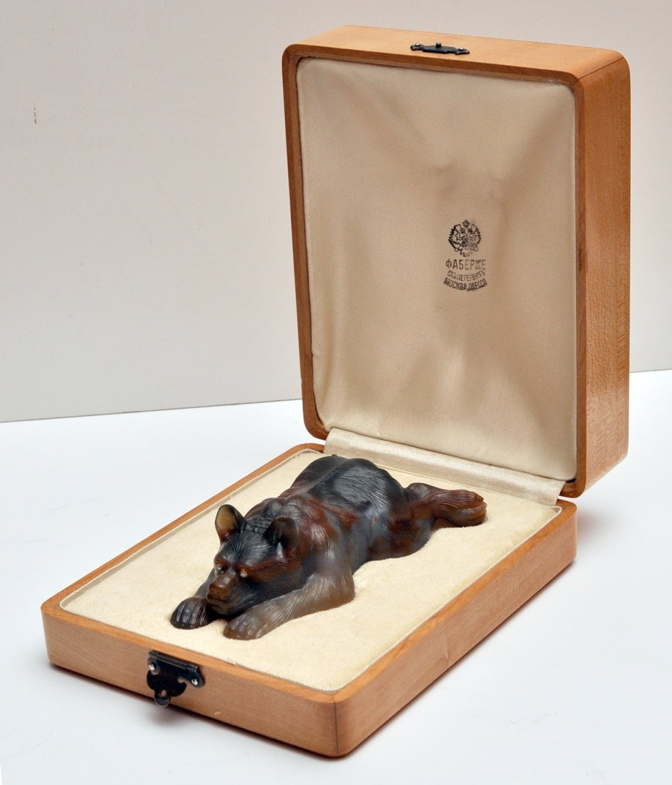 RUSSIAN JASPER STONE CARVED BEAR WITH BOX - 2