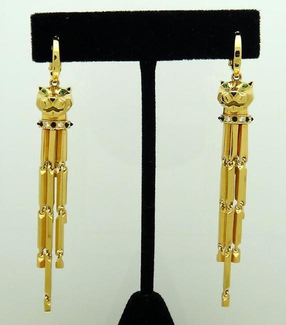 Cartier 18K Diamond, Tsavorite, Onyx Panthere Earrings