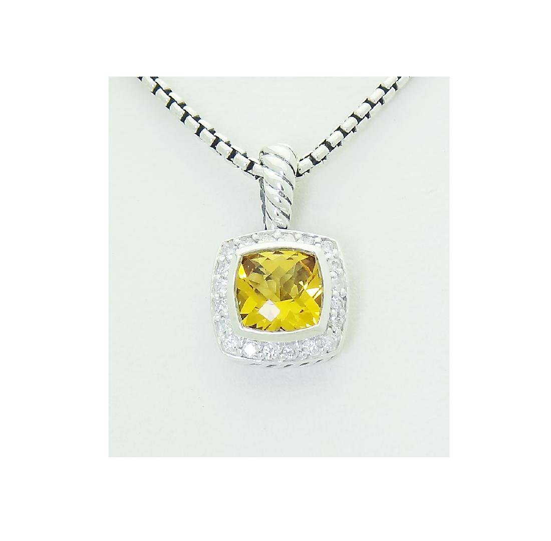 David Yurman 925 Sterling Silver Lemon Citrine Diamond - 2