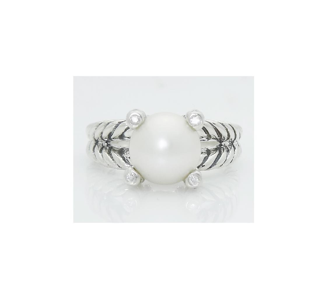 DAVID YURMAN Sterling Silver Cable Ring with Pearl and