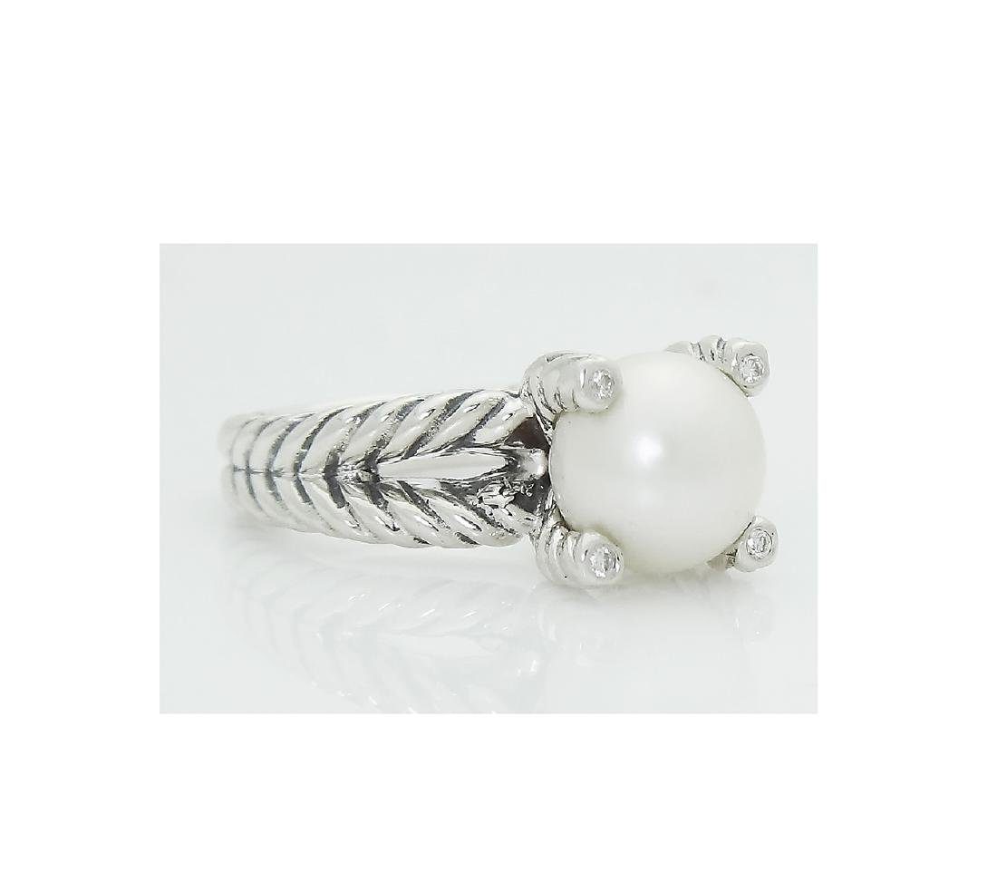 DAVID YURMAN Sterling Silver Cable Ring with Pearl and - 2