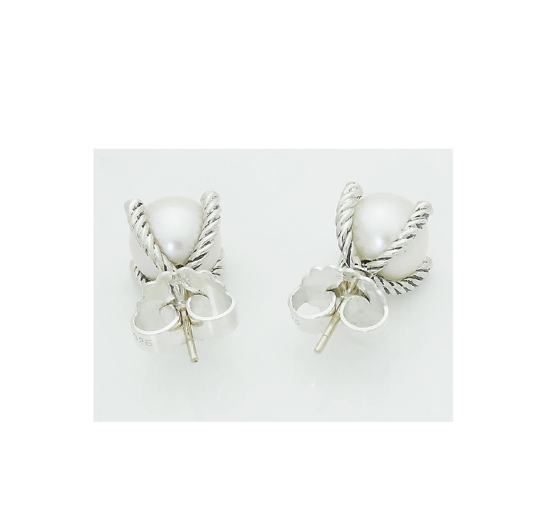 DAVID YURMAN Sterling Silver Pearl Earrings with - 3