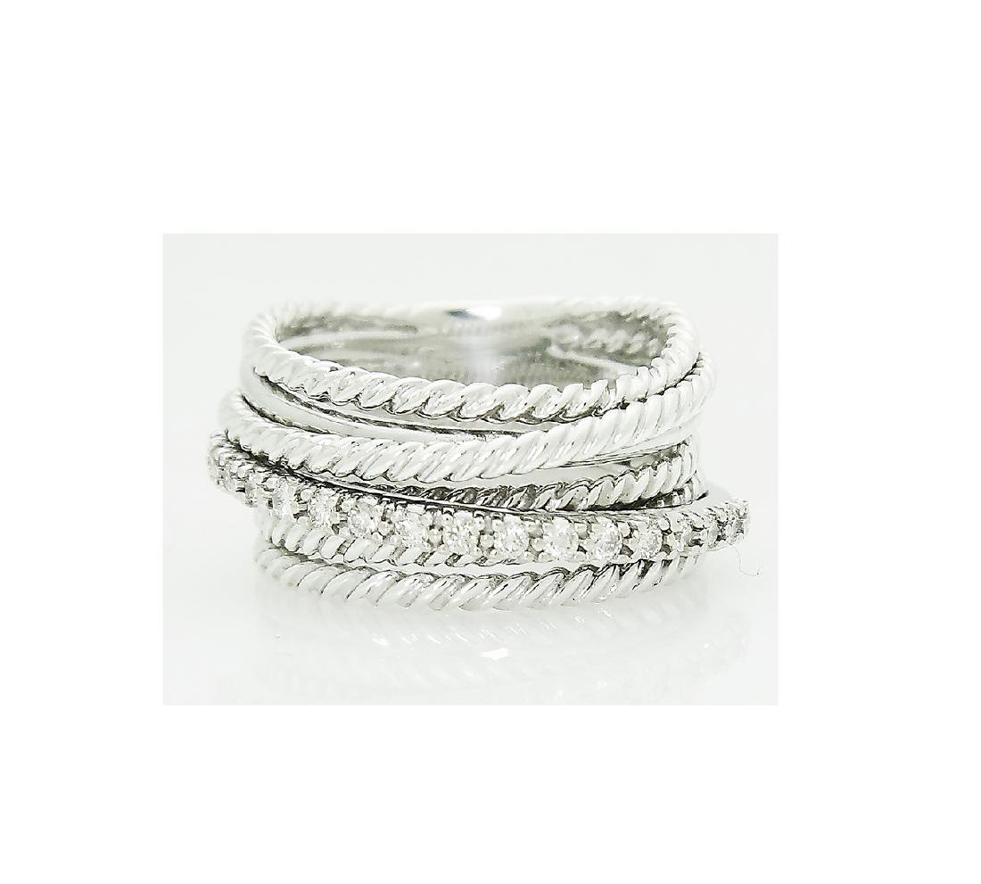 David Yurman 925 Sterling Silver Crossover Diamond Ring