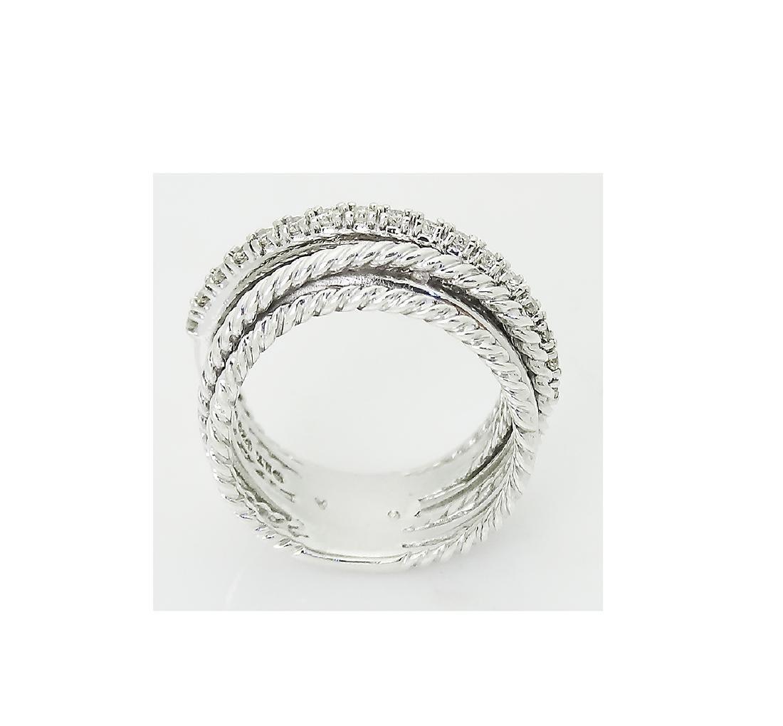 David Yurman 925 Sterling Silver Crossover Diamond Ring - 3