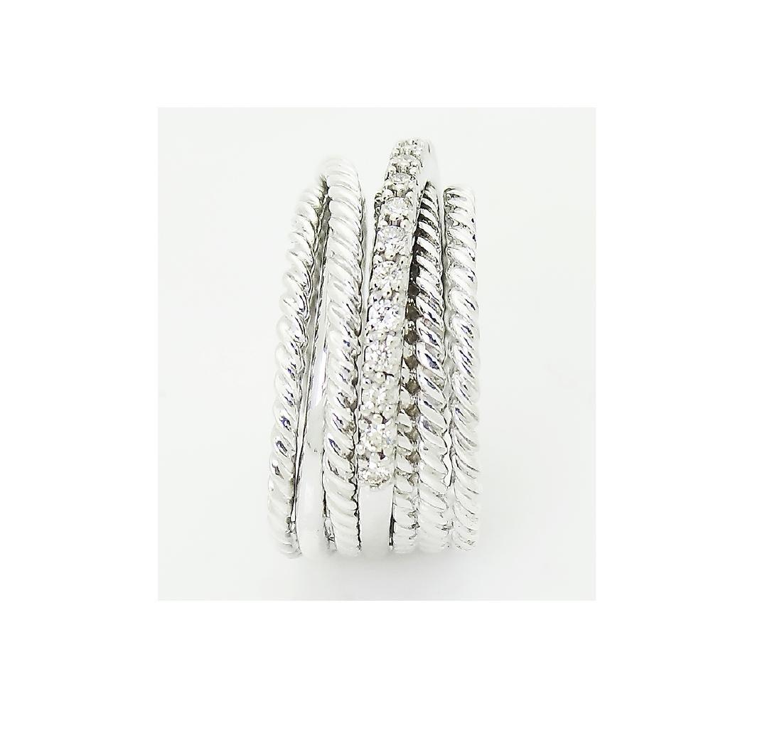 David Yurman 925 Sterling Silver Crossover Diamond Ring - 4