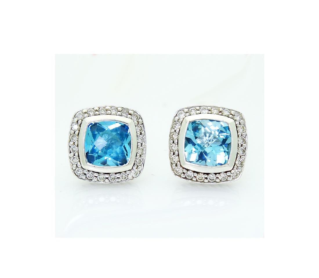 David Yurman 925 Albion  w/ Blue Topaz & Diamond