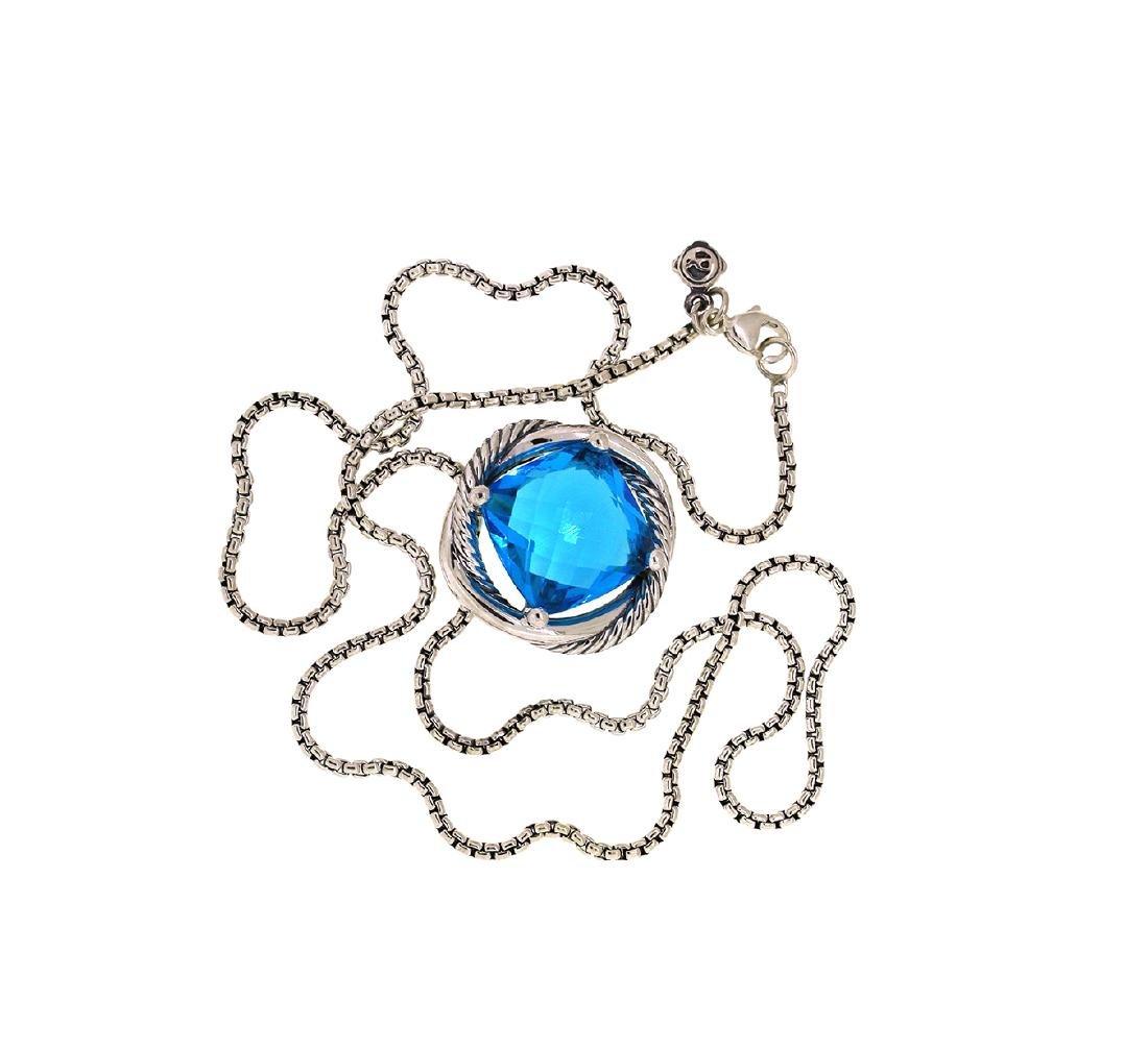 David Yurman Sterling Silver Infinity 14mm. Blue Topaz