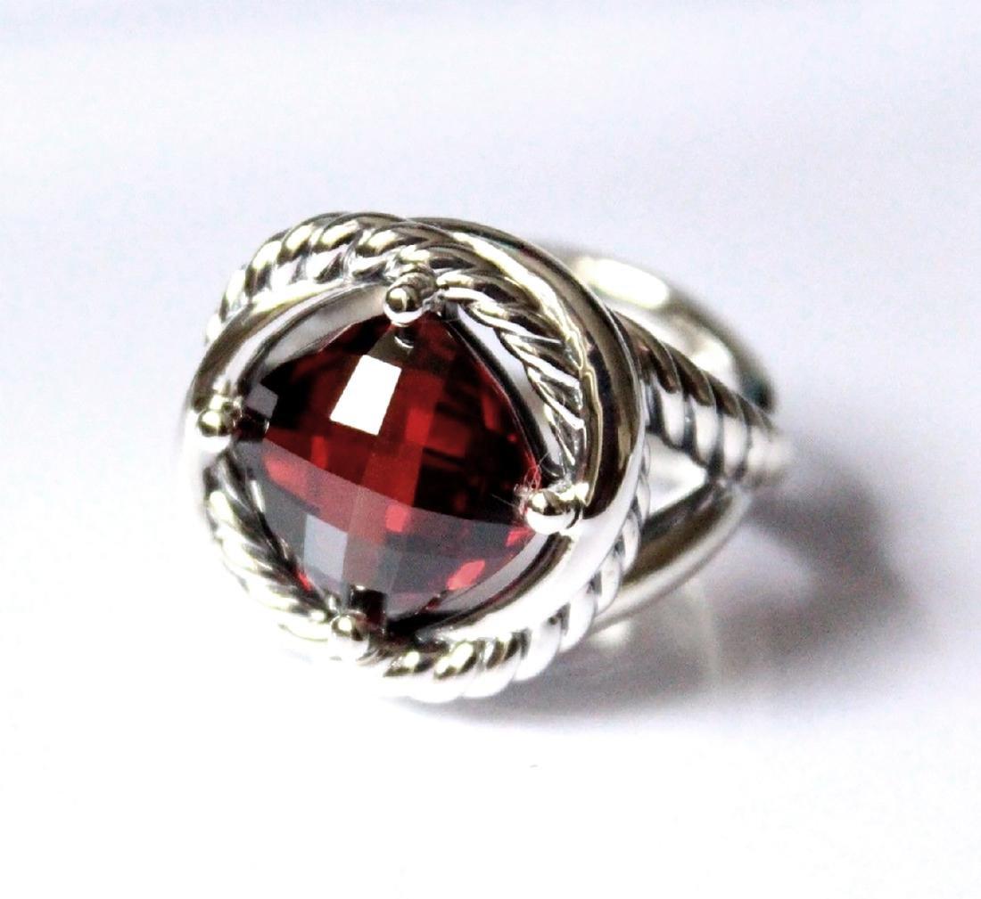 David Yurman Sterling Silver Infinity 11mm Garnet Ring