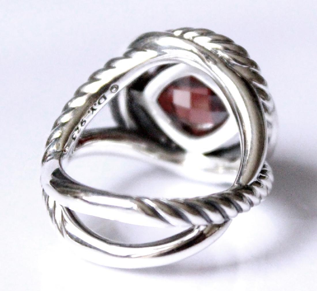 David Yurman Sterling Silver Infinity 11mm Garnet Ring - 2
