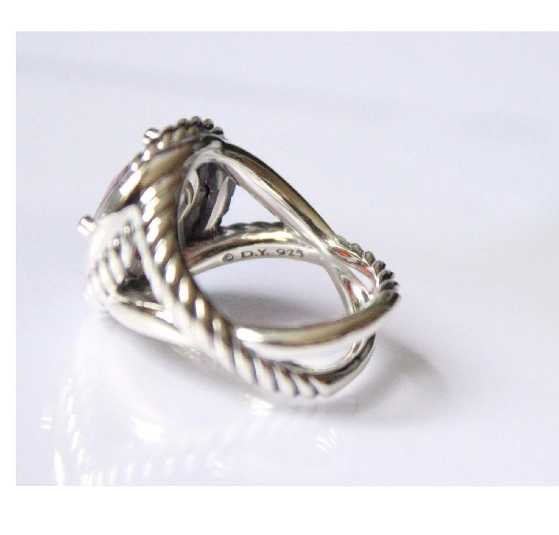 David Yurman Sterling Silver Infinity 11mm Garnet Ring - 3