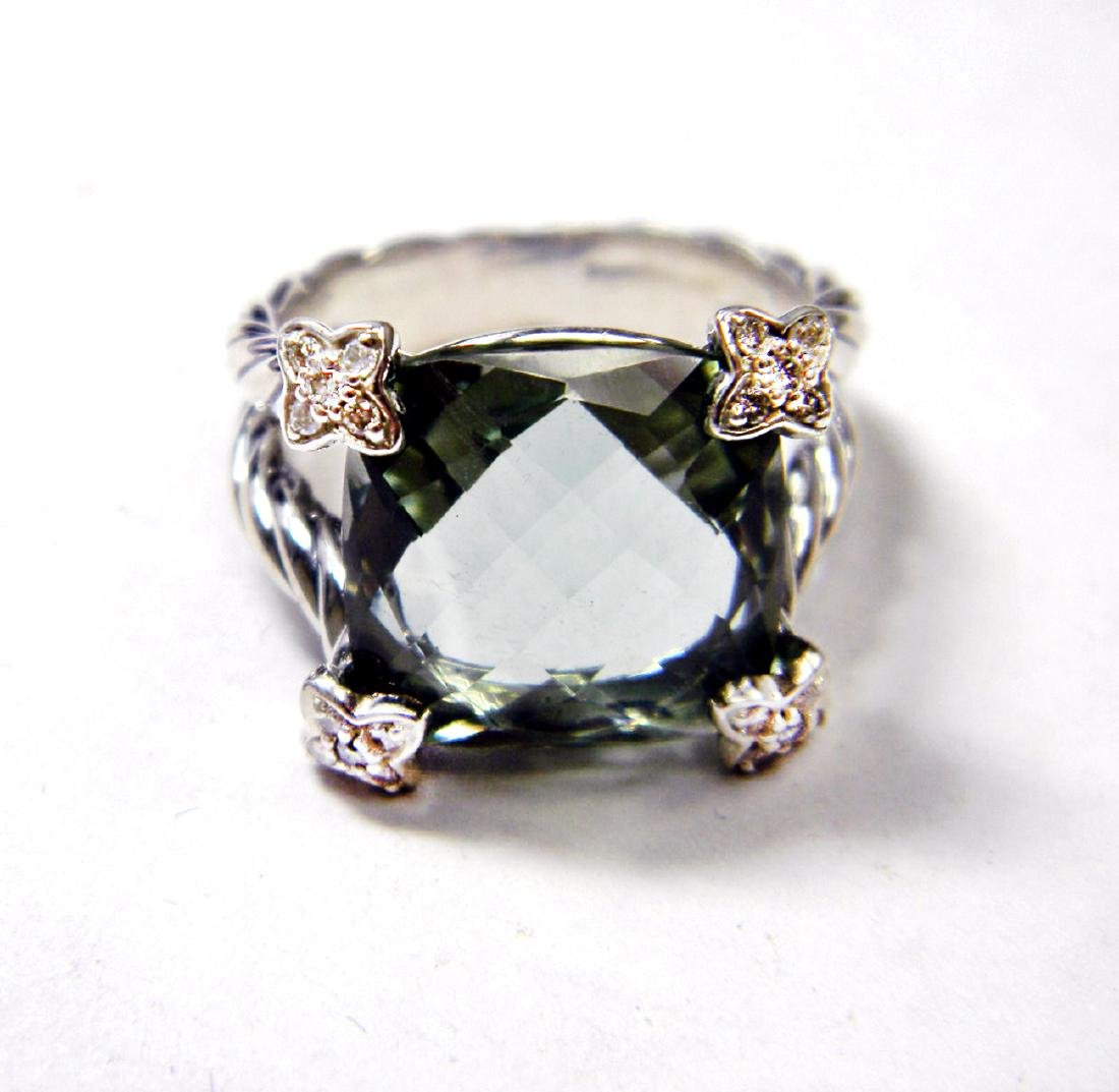 David Yurman Sterling Silver ChatelainePrasiolite 15mm